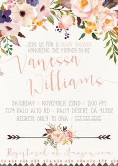 Boho Baby Shower, Aztec, Tribal, Feather, Flower [108a]  *Need your invite ASAP? Select RUSH in the drop down window to the top right for