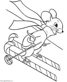 skiing christmas mouse candy canes ski down hill mice scarf printable christmas coloring pagesmandala