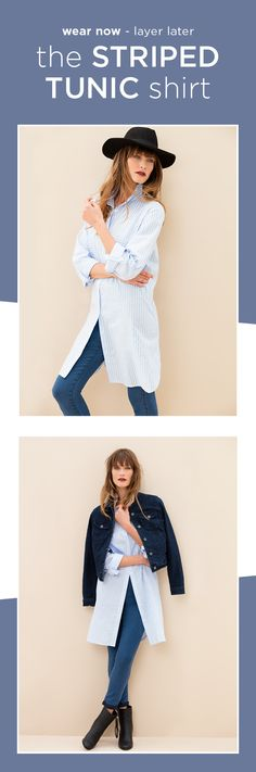 Wear your striped tunic shirt with heeled ankle boots, a fitted jacket and finish it off with a wide brim fedora. How To Wear Heels, How To Wear Ankle Boots, Black Ankle Boots, Black And White Shirt, White Shirts, Black White, Fall Wedding Shoes, How To Wear Headbands, Tunic Shirt