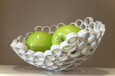 White ceramic fruit bowl, contemporary design, Particle series. Handmade…