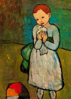 Pablo Picasso    Child with Dove, 1901, oil on canvas, 73 x 54 cm, London. I've always loved this painting.