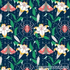 Night Lily print, part of the Lilium collection, by Magic Jelly on Spoonflower Surface Design, Spoonflower, Jelly, Places To Go, Plant Leaves, Magic, Eye, Patterns, Night