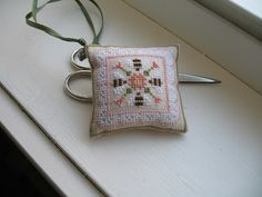 sweet little bee cross stitched scissors fob