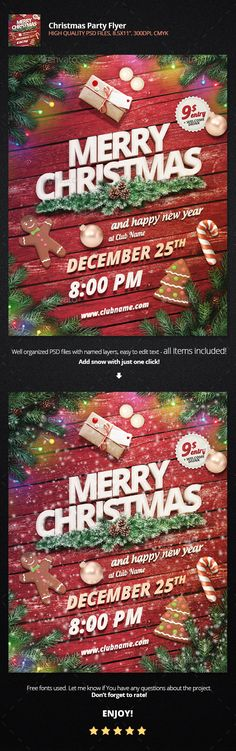 Christmas Party #Flyer - Holidays #Events #Christmas #NewYears #Seasons #Holidays #Winter #Graphics #Design