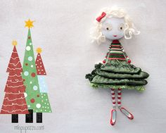 Christmas Tree Girl Art Doll Brooch mixed media by miopupazzo