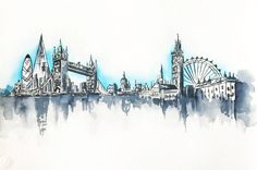 London Skyline Painting Original Watercolor by NiksPaintGallery London Drawing, Watercolor Paintings, Original Paintings, Skyline Painting, London Skyline, Travel Illustration, Urban Sketchers, Cute Wallpapers, Vintage Posters