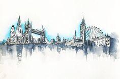London Skyline Painting Original Watercolor by NiksPaintGallery Skyline Painting, Skyline Art, New York Skyline Silhouette, London Drawing, London Painting, City Drawing, Photo Mural, London Skyline, Travel Illustration