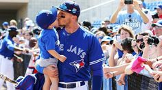 Troy Tulowitzki of the Toronto Blue Jays kisses his son Taz before the game against the Baltimore Orioles at Florida Auto Exchange Stadium on March 2016 in Dunedin, Florida. Troy Tulowitzki, Canadian Girls, Josh Donaldson, Toronto Life, American League, Spring Training, Toronto Blue Jays, Go Blue, Baltimore Orioles