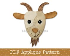 Goat Applique Template Billy Goat, Nanny Goat or Kid Goat Applique Pattern PDF Pattern for Fusible W Applique Templates, Applique Patterns, Owl Templates, Paper Embroidery, Machine Embroidery, Felt Patterns, Sewing Patterns, Outline Drawings, Fabric Markers