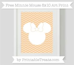 Free Pastel Light Orange Chevron Minnie Mouse 8x10 Art Print