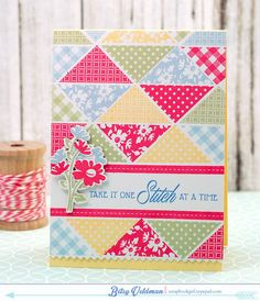 hand crafted card: Stitch-at-a-time ... triangle patches from a quilt look card front ... Paper Trey Ink ...