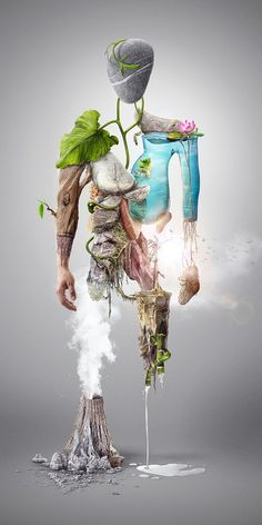 Today, we are presenting some creative photo manipulation that will not allure you but increase your inspirational power as well. Nature Man - Digital illustration - Photo Manipulation I am sure it'll have all what you want to desire. Art Environnemental, Environmental Art, Creative Photos, Surreal Art, Photo Manipulation, Surrealism, Amazing Art, Awesome, Fantasy Art
