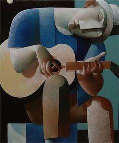 Gitarist by Peter Harskamp African Art Paintings, Art Deco Paintings, Contemporary Artwork, Modern Art, Art Visage, Cubism Art, Indian Folk Art, Unusual Art, Abstract Portrait