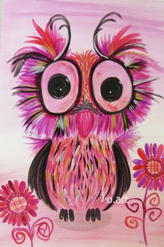 rosy pink owl girl woman cute whimsy bird animal Original Watercolor Painting J.O.