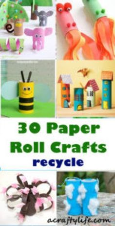 Creative Paper Roll Crafts – Recycle Reuse Kids Craft – A Crafty Life - Recycled Crafts Kids 2020 Toilet Roll Craft, Toilet Paper Roll Crafts, Paper Crafts, Craft Activities For Kids, Preschool Crafts, Projects For Kids, Recycled Crafts For Kids, Upcycled Crafts, Crafts To Make