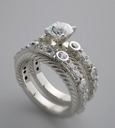 unusual wedding rings | ENGAGEMENT RING SETTING WITH MATCHING WEDDING RING BAND WITH DIAMOND ...