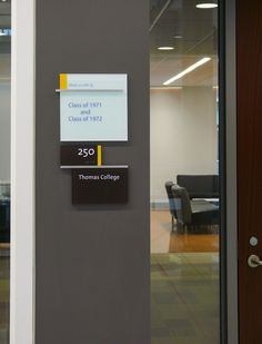 Integrated room signage and donor recognition. Design by Mitchell Associates.