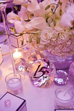 Love the diamond table numbers! These come from Flowers by Semia