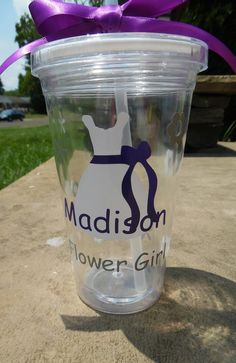 Flower Girl Tumbler, Flower Girl Cup, Personalized Flower Girl Gift