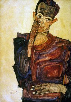 """Egon Schiele (1890-1918). Austrian painter. """"Self-portrait Pulling Cheek."""" Chalk, watercolor and gouache, 1910."""