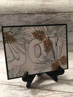 Christmas Card, Joy, Pine Branches, Pine Cones, Eclipse Card, Handmade Card, Stampin' Up! Ornamental Pine Card by LaurelTreeDesignCo on Etsy