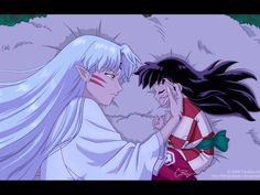Sesshomaru and Rin sleeping together on Sesshomaru's fluff I love in this picture how Sesshomaru is stroking Rin's cheek with such compassion and love in his face