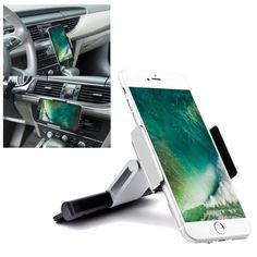 Cocoxin Mobile Phone CD Slot Car Mount Holder [Aluminum], Cradle Fit for iPhone 7 Plus, 7, 6 Plus, 6S, 6, 5S, 5C, 5, 4S, 4, Galaxy S6, S6 Edge, S5, S4, Note 2, Moto, HTC, Sony, 3.5-5.5 inchs - Silver