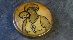 1920 S ART DECO FLAPPER GIRL POWDER COMPACT
