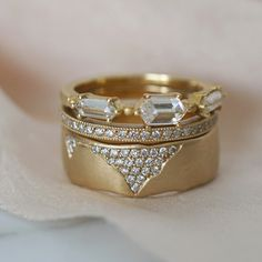 Sexy hexagon ring stack dripping in diamonds