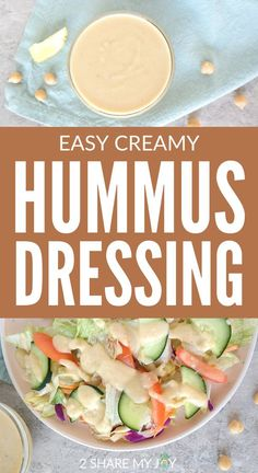 Easy creamy hummus dressing from scratch. Vegan oil free dressing made witch chickpeas for buddha bowls, wraps, and salads. This plant based dressing is also high in protein.