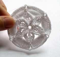 This listing is for the pattern for my crochet medallion ornaments. Each ornament requires a plastic cabone ring, 16 yards of size 10 crochet cotton, and a Boye size 5 mm) hook (or similar). Finished ornaments measure approximately inches in diameter. Crochet Christmas Ornaments, Holiday Crochet, Snowflake Ornaments, Christmas Items, Flower Ornaments, Christmas Crafts, Christmas Tree, Crochet Snowflake Pattern, Crochet Snowflakes