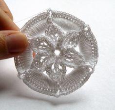 Crochet Christmas Ornament  White Medallion by CaitlinSainio, $5.00