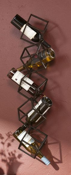 Tumbling cubes // wall mounted wine holder
