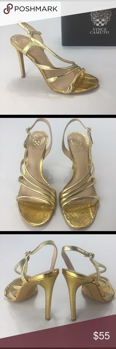 VINCE CAMUTO Cleopatra gold metallic heels! VINCE CAMUTO Cleopatra gold metallic heels! Style: Tiernan . Leather. Size 7.5. No box. Excellent new condition. Vince Camuto Shoes Heels