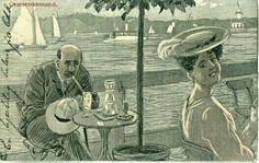"""Kunstnerkort Andreas Bloch """"Græsenkemand"""" Utg 1910-tallet"""