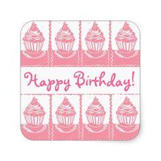 Cupcakes Happy Birthday! Stickers; Abigail Davidson Art; ArtisanAbigail at Zazzle