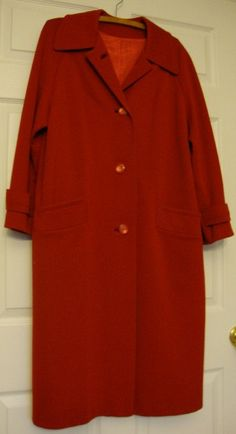 SALE Vintage Red Woolen Full Length Coat by LiliesWhite on Etsy, $28.00