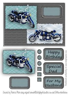 All Occasion Blue Motorbike Card Topper on Craftsuprint designed by Patricia Platt - This is a quick card topper for Birthdays, Anniversary, Father's Day or any occasion when you need to make up a card for a person who enjoys motorbikes. Cut and layer topper onto your card. There are three sentiments included with this topper...Happy Birthday, Special Dad, For My Husband and one left blank for your own greeting. - Now available for download!