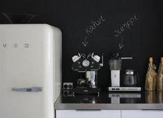 Cool idea. Label your kitchen stuff on the blackboard wall :P
