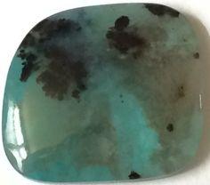 A personal favorite from my Etsy shop https://www.etsy.com/listing/248445889/13-carat-dendritic-blue-gem-silica #Dendritic #GemSilica #Arizona #Gemstone #Cabochon