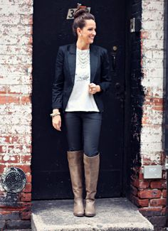 Classic Black & Grey Outfit on #LexWhatWear #blackblazer #leatherpants #overthekneeboots #boots #graphictee http://lexwhatwear.com/noir-6/