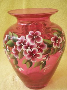 Hand Painted Pink Glass Vase with Berry Wine Flowers