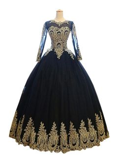 Mollybridal Gold Lace Applique Quinceanera Prom Dresses With Long Sleeves Corset Ball Gowns Black/Gold 4