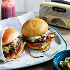 The cheeseburgers from our August issue: Gruyère, cheddar, beef, potato buns, pickled chilli.
