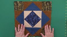 #FonsandPorters Fernwood Block of the Month - 'Episode 6: How to Make the Triangle Square and Windblown Square Quilt Blocks' - Flying geese, setting patches on point, and quick-corner piecing techniques are all used in the Triangle Square block, using different methods for setting on point than in the previous blocks.