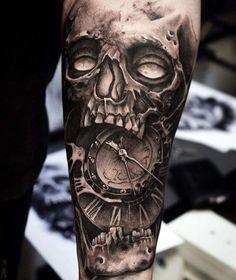 skull tattoo clock black and grey