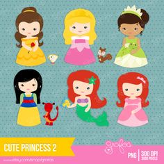 CUTE PRINCESS 2  Digital Clipart   Princess Clipart by grafos, $5.00