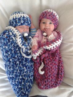 Sleeping bags with matching beanies. So cute.