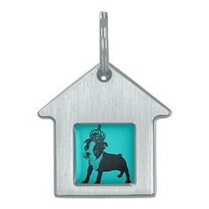 Boston Terrier Puppy DOG Crown Designs Burnished Silver House Style Turquoise Color Pet Tag - http://www.thepuppy.org/boston-terrier-puppy-dog-crown-designs-burnished-silver-house-style-turquoise-color-pet-tag/