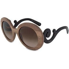 Minimal Baroque Round Sunglasses PR27RS IAM6S1 55 ($179) ❤ liked on Polyvore featuring accessories, eyewear, sunglasses, brown, women, brown gradient sunglasses, round frame glasses, wide glasses, brown sunglasses and round rim sunglasses